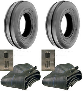 Two 2 7 50 16 7 50x16 750 16 750x16 3 Rib F 2 Tractor Tires Tubes 8ply Rated