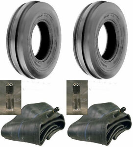 Two 6 50 16 6 50x16 650 16 Tri rib 3 Rib 6ply Tractor Tires Tubes Heavy Duty