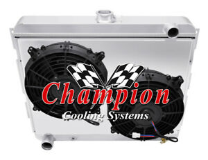 22 Inch Core Early Mopar Aluminum Radiator 3 Row Kr Champion Fan Shroud Combo