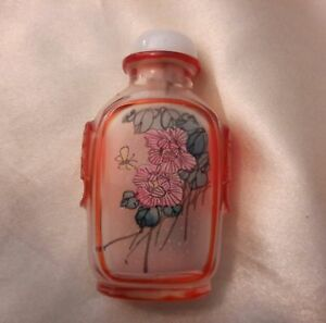Reverse Painting Carved Peking Glass Snuff Bottle