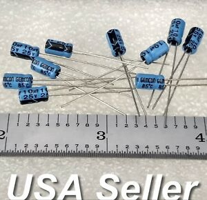 lot Of 10 10uf 25v Gemcon Low esr Electrolytic Capacitors Fast Usa Shipping