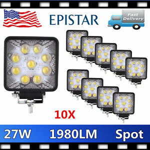 10pcs 27w 12v24v Spot Led Work Light 5d Len Lamp Boat Tractor Truck Offroad Suv