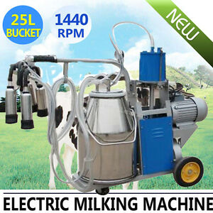 Large Electric Piston Vacuum Pump Milking Machine Cows Bucket Stainless Steel Ce