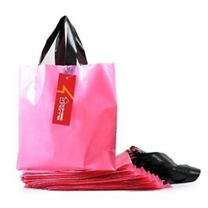 100pc Pink Frosted Plastic Shopping Bags 10x3 5 Retail Merchandise Bag Gift Bag
