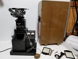 Vintage Unitron U 11 Inverted Metallurgical Microscope 51770 In Wood Case