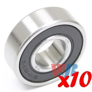 Set Of 10 Radial Ball Bearing 6201 2rs 13mm With 2 Rubber Seals 13mm Bore