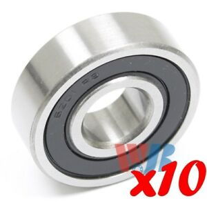 Set Of 10 Radial Ball Bearing 6201 rs With 1 Rubber Seal