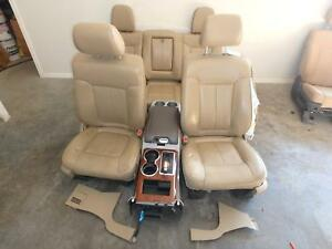 09 14 Ford F150 Front Rear Seat Console Tan Leather Heated Cooled Memory Power
