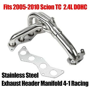 Stainless Steel Exhaust Header Manifold 4 1 Racing Fits 2005 2010 Scion Tc 2 4l
