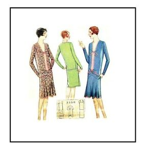 Mccall 1920s Sewing Pattern 5230 Flapper Dress Rare Original Size 16 Drop Waist