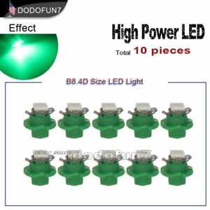 10pc B8 B8 4d Green Instrument Dash Panel Cluster Gauge Led Light Bulb