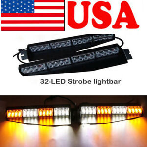 32 Led Emergency Warning Light Bar Strobe Visor Mount Deck Dash Amber White