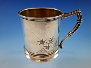 Whiting Sterling Silver Baby Child S Cup Mug Brite Cut Ivy Vintage Antique 188a