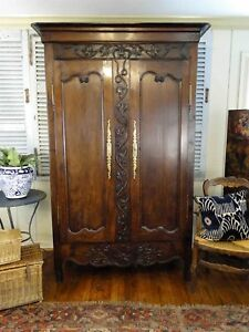 Antique French Armoire Wedding Wardrobe Recessed Panels Carving Shelves Key