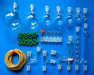 30pcs new Chemistry Glassware Kit laboratory Glass Unit w 24 29 Ground Joint