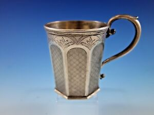 Tifft Whiting Coin Silver Baby Child S Cup Mug Engine Turned Panels Brite Cut