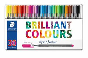 Staedtler Triplus Fineliner 334 M30 0 3mm 30 Brilliant Colours Ink Pen Metal Tin