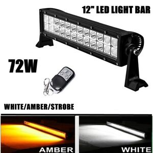Emergency Flash Strobe Light Bar Amber White With Remote Control 12 Inch