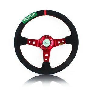 14 Takata Deep Dished Red Spoke Black Suede Sport Steering Wheel W Horn Button