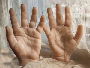 Pose able Pare Silicone Male Mannequin Hands Display Model Prop Large
