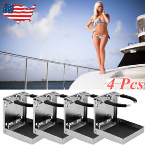 4x Stainless Steel Adjustable Folding Drink Holders Marine boat caravan car As
