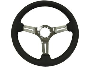 1968 1982 Corvette Steering Wheel Black Leather With Chrome Spokes C3 New