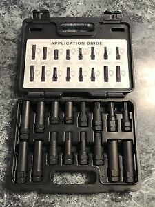 Spline Tuner Key Lug Nut Master Socket Set 16 Piece Kit Lug Removal Socket Key