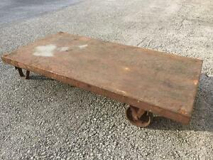 Vintage Warehouse Steel Industrial Factory Cart Low Platform Dolly Coffee Table