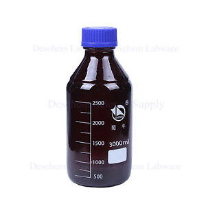 3000ml amber Brown Glass Reagent Bottle W blue Plastic Cap graduation 2500ml