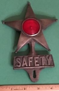 Vintage Safety Star Chevrolet Gm Accessory Ford License Plate Tag Topper 40s 50s