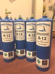 R12 Refrigerant 12 Virgin Pure R 12 4 28 Oz Cans On off Valve 7 Lbs