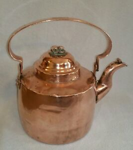19th Century Dovetailed Copper Tea Kettle W Hinged Spout Cover Adolf Andersson