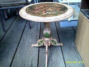Antique Tri Leg Carved Round Tilt Top Painted From Phillippines