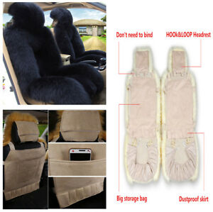 Car Front Seat Cover Cushion Decor Genuine Sheepskin Long Wool Fur Fluffy Black