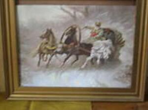 Lebskij Grigory Russian Troika Oil 47 5 X 35 5 Lcm Frame For Free