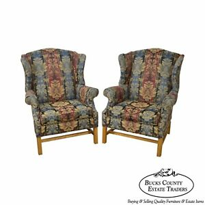 Craftmaster Pair Of Chippendale Style Wing Chairs
