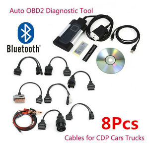 Latest Bluetooth Tcs Cdp Pro Plus For Autocom Obd2 Diagnostic Tool 8x Car Cables