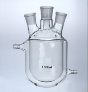 4 necks 500ml Glass Jacketed Flask Reactor Vessel Double Layer 24 29 4