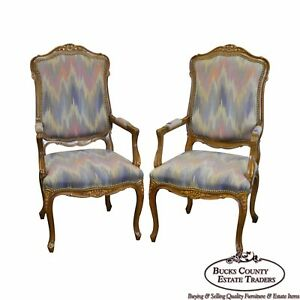 French Louis Xv Style Quality Pair Of Arm Chairs By Kenyon Home Furnishings