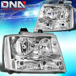 For 2007 2014 Chevy Suburban Tahoe Chrome Housing Clear Side Headlight Lamp Set