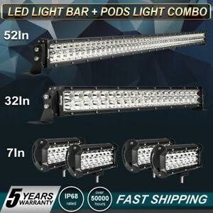 52inch Led Light Bar Combo 32 7 Cree Pods Off Road Suv 4wd Ford Jeep Vs 22