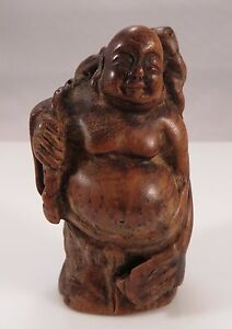 Japanese Wooden Netsuke Hotei Buddha W Staff Fan Wood Sagemono Japan