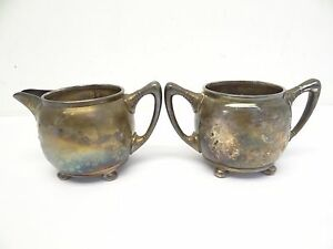 Antique Old Set Reed Barton 3184 Mf D Plated Gilt Creamer Sugar Bowl