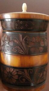 Vintage Carved Wood Trinket Box Tobacco Jar Canister Mexico Celluloid Knob