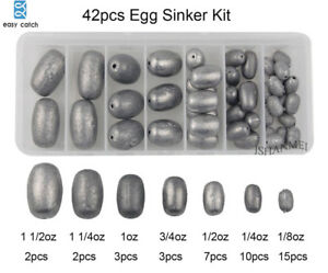 42pcs Assorted Egg Sinker Weight Fishing Lead Sinkers Olive Bass Casting Weight $20.99