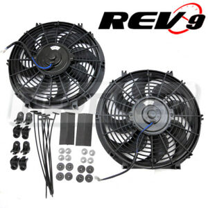 2x 12 Inch Universal Slim Fan Push Pull Electric Radiator Cooling S Blade Kit