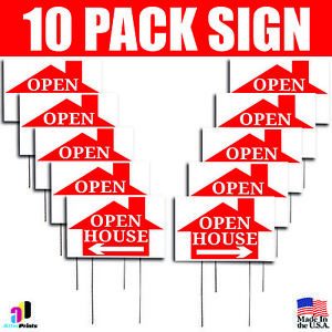 10x Open House Signs Left Right Arrow Realtor Home Real Estate Marketing