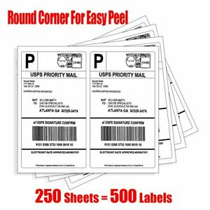 500 Round Corner Self Adhesive Shipping Labels 8 5x5 5 Half Sheet For Paypal