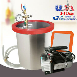 5 Gallon Stainless Vacuum Degassing Chamber W 1 4hp 3cfm Single Stage Pump Usa