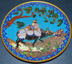 Superb Antique 19th C Chinese Japanese Cloisonne Oxen Art Plate 6 Emperor Ox